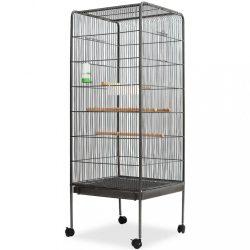 fekete acél madárkalitka 54 x 54 x 146 cm