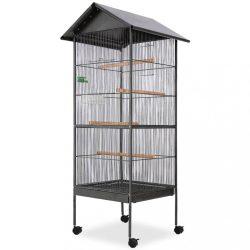 fekete acél madárkalitka tetővel 66 x 66 x 155 cm