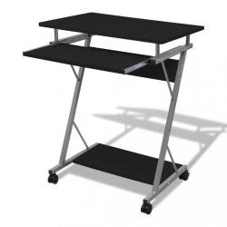 Számítógépes íróasztal kihuzható tálcás íróasztal Fekete