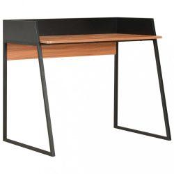 fekete és barna íróasztal 90 x 60 x 88 cm