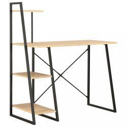 fekete és tölgyszínű íróasztal polcrendszerrel 102x50x117 cm