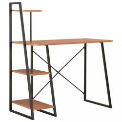 fekete és barna íróasztal polcrendszerrel 102 x 50 x 117 cm