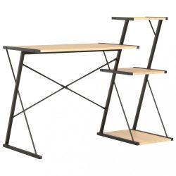 fekete és tölgyszínű íróasztal polccal 116 x 50 x 93 cm