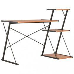 fekete és barna íróasztal polccal 116 x 50 x 93 cm