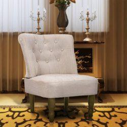 krémszínű szövetkárpitozású francia fotel