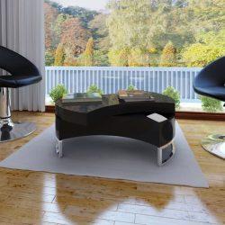 magasfényű fekete átalakítható dohányzóasztal