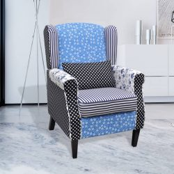 Fércmű Vidéki Stilusú Fotel Virágokkal Kék és Fehér