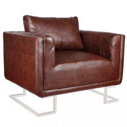 barna kocka alakú krómlábas műbőr fotel