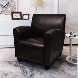 sötétbarna műbőr fotel
