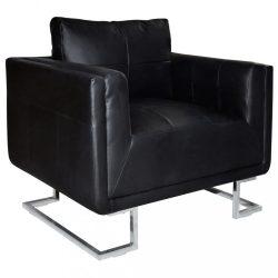 fekete kocka alakú krómlábas műbőr fotel