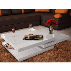 3-szintes magasfényű fehér dohányzóasztal