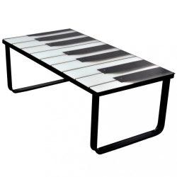 dohányzóasztal zongora mintás üveglappal