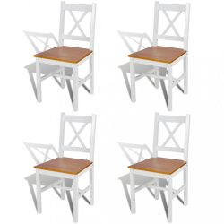 4 db fehér fenyőfa étkezőszék