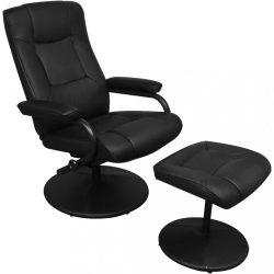 fekete műbőr TV-fotel lábzsámollyal