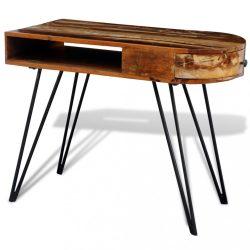 Antikolt hatású tömör fa íróasztal vaslábakkal