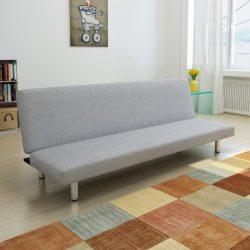 világosszürke poliészter kanapéágy