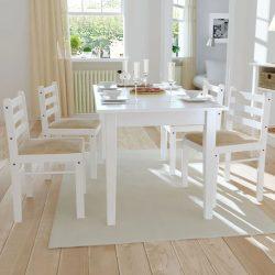 4 db fehér tömör gumifa és bársony étkezőszék