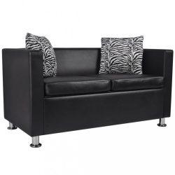 fekete 2 személyes műbőr kanapé