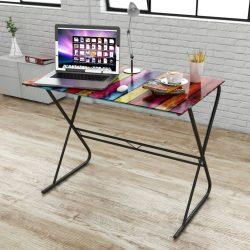 Üvegasztal / íróasztal színes nyomtatúsú asztallappal