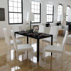 7 darabos Fekete és fehér étkező asztal szett