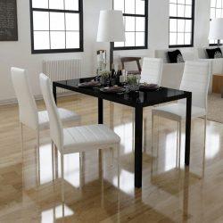 5 darabos étkező asztal szett fekete és fehér
