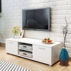 magasfényű fehér TV szekrény 120 x 40,3 x 34,7 cm