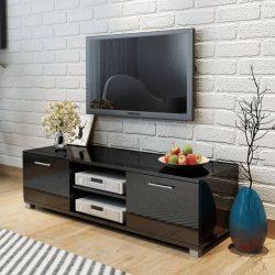 magasfényű fekete TV-szekrény 120 x 40,3 x 34,7 cm