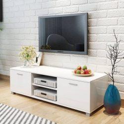 magasfényű fehér TV-szekrény 140 x 40,3 x 34,7 cm