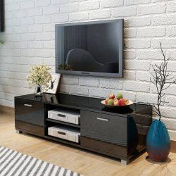 magasfényű fekete TV-szekrény 140 x 40,3 x 34,7 cm