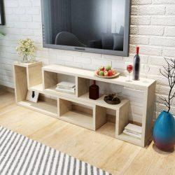 tölgyfa TV szekrény két L-alakú polccal