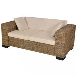 hét darabos kétszemélyes kanapé szett valódi rattan