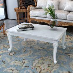 Fehér magasfényű 100x60x42 cm-es dohányzóasztal