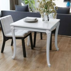 Fényes 80x80x76 cm-es fehér étkező asztal