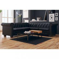 5 személyes fekete Chesterfield műbőr kanapé