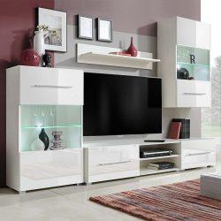 5 részes, fehér fali TV állvány szett LED világítással