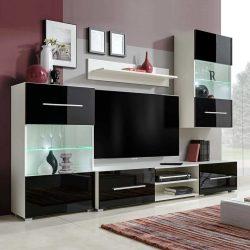 5 részes fali TV állvány szett fekete LED világítással