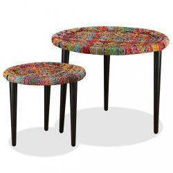2 db bambusz dohányzóasztal sokszínű chindi mintával
