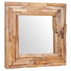 dekoratív és kocka-alakú tükör tíkfából 60 x 60 cm