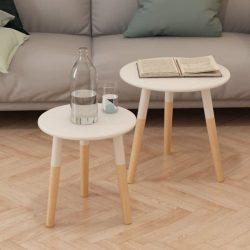 2-részes, fehér tömör fenyőfa kis asztal szett