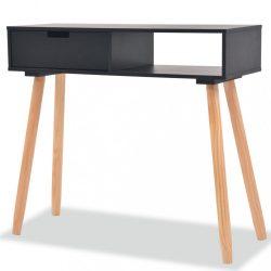 fekete, tömör fenyőfa tálalóasztal 80 x 30 x 72 cm