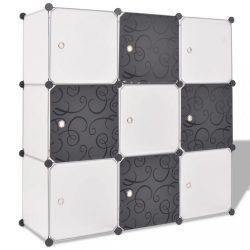 fekete és fehér kocka alakú tároló 9 tárolórekesszel