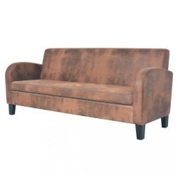 háromszemélyes barna művelúr kanapé
