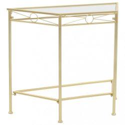 vintage stílusú aranyszínű fém kisasztal 87 x 34 x 73 cm