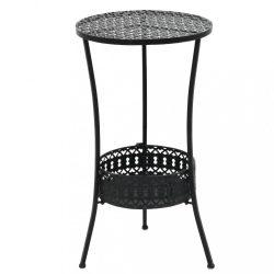 fekete fém bisztróasztal 40 x 70 cm