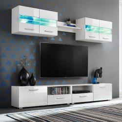 5-részes magasfényű fehér fali TV-szekrény LED-fényekkel