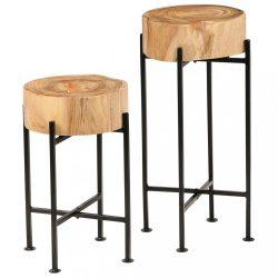 2 részes tömör akácfa kisasztal-garnitúra