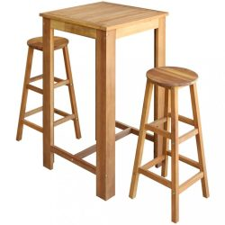 3 részes tömör akácfa bárasztal és bárszék garnitúra