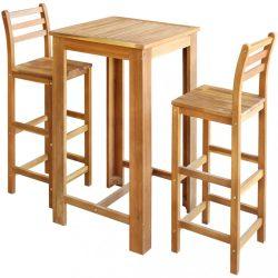 3 részes tömör akáciafa bárasztal és szék garnitúra