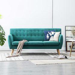 3 személyes zöld kárpitos kanapé 172 x 70 x 82 cm