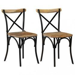 2 db fekete kereszt háttámlás tömör mangófa szék